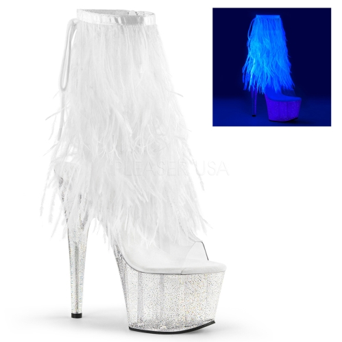 Marabou Fur Fringe White With A Clear Platform