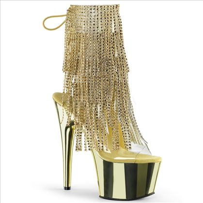 Gold Simulated Rhinestone Fringe Gold Chrome Shoe