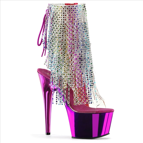 Multi-Color Fringe Fuchsia Chrome Ankle Boot