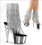 Simply Sexy Fringe Silver Chrome Ankle Boots