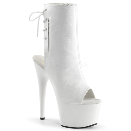 White Faux Leather Open Toe Ankle Boot