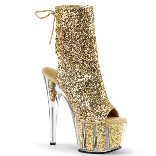 Hidden Zipper Pocket Gold Glitter Filled Boot