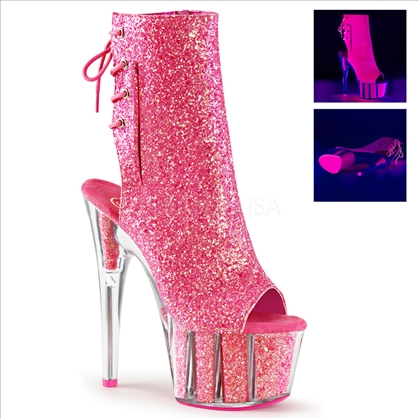 Neon Pink Open Toe Open Heel Hidden Pocket Boot