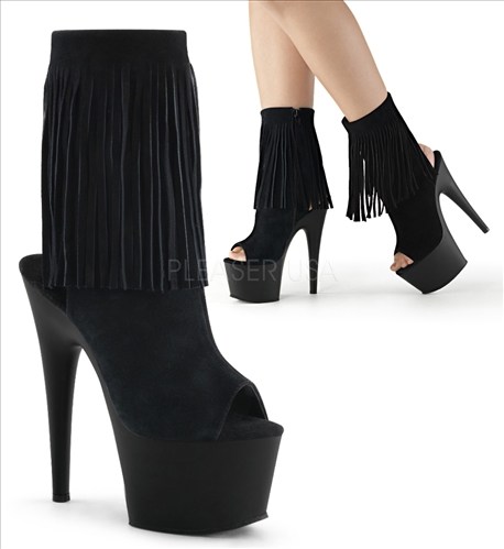 Fringe Ankle Boots With Black Suede Zipper