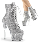 Gorgeous Midcalf Silver  Glitter Ankle Boot
