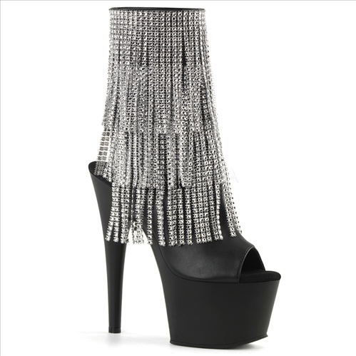 Black Faux Leather Silver Fringe Ankle Boots