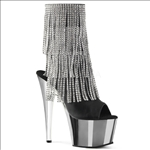 Silver Platform Fringe Black Faux Leather Boots