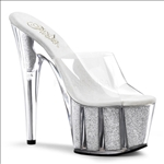 Clear Platform With Silver Glitter Stripper Shoe