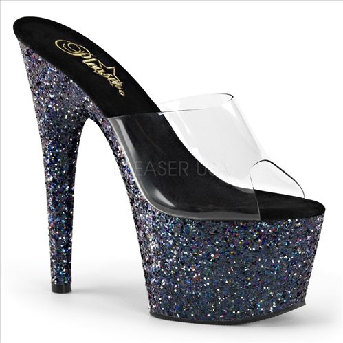 Black Holographic Glitter Platform High Heel