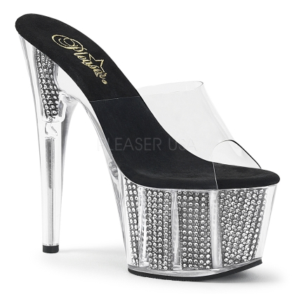 Exotic High Heel Black Chrome Rhinestones