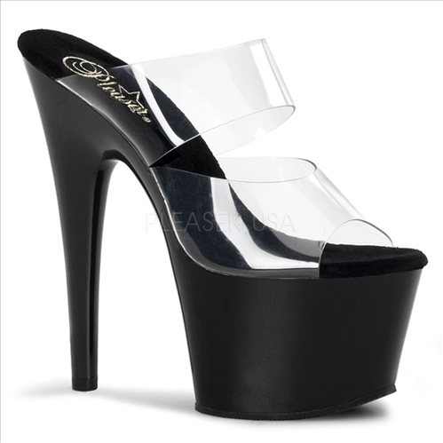 Black Clear Vamp Foxy Stiletto 7 Inch Heel