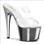 Silver Chrome With Clear Top Sexy Stiletto Heel