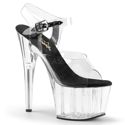 Clear Platform Black Insole Clear Ankle Strap Shoe