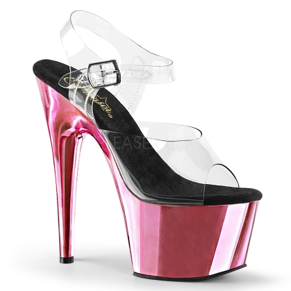 Baby Pink Chrome Ankle Strap Exotic Dance Shoe