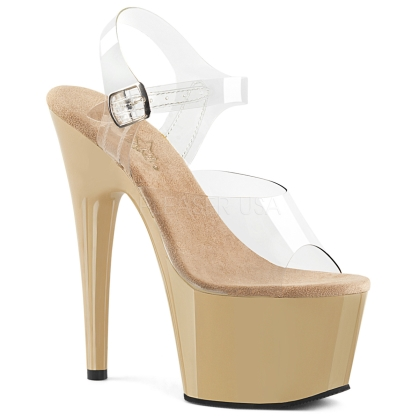 ADORE-708 7 inch Heel Cream Ankle Strap Shoe