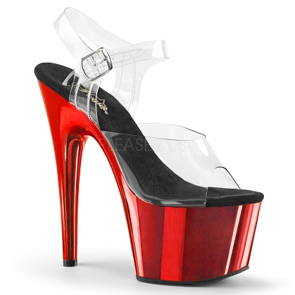 Red Chrome Clear Ankle Strap Platform Shoe