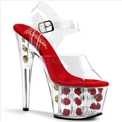 Red Rose Platform Exotic Pole Dancing Shoe
