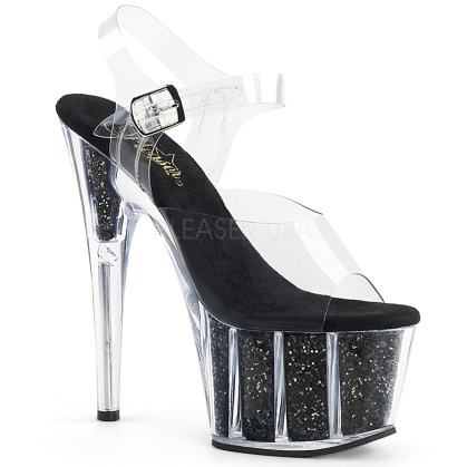 Black Glitter Filled Ankle Strap Platform Shoes