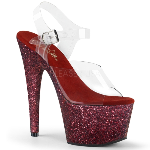ADORE-708HMG 7 inch Heel Burgundy Glitter Shoes