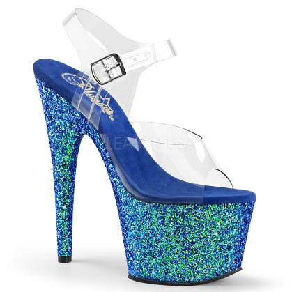 Blue Holographic Glitter Exotic Dance Shoe