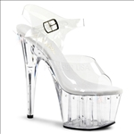 Rhinestone Lined Clear Ankle Strap Pole Dance Shoe