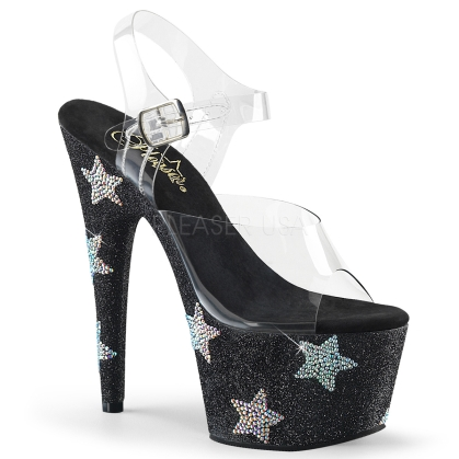 Black Mini Glitter Star Design Exotic Dance Shoes