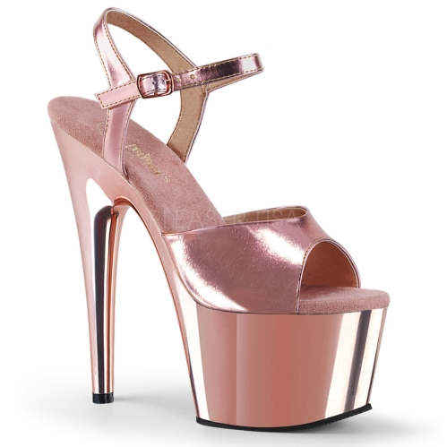 Rose Gold Chrome Exotic Platform Dance Shoes