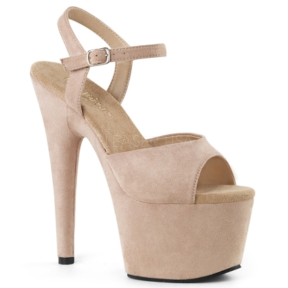 ADORE-709FS Exotic 7 inch Heel Beige Faux Suede