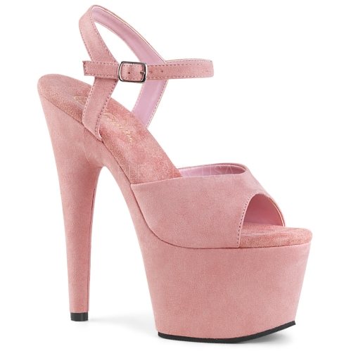 ADORE-709FS 7 inch Heel Baby Pink Faux Suede Shoe