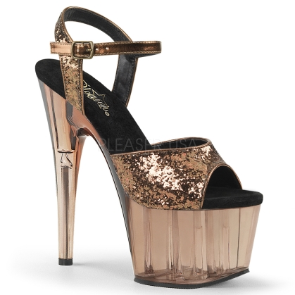 Bronze Glitter Bronze Tinted Exotic Stripper Heels