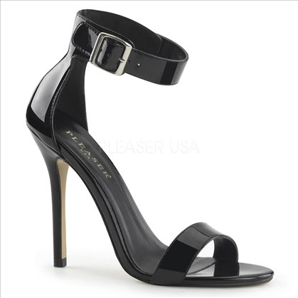 Women's dance and style shoes are these 5 inch heel, close back sandal with buckle ankle strap in black shiny patent. The stiletto heel is sharp and very eye-catching.