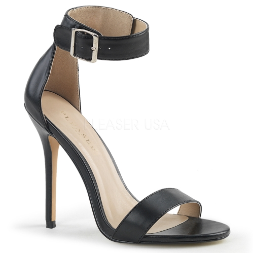 Black Patent Sandal With Buckle Ankle Strap