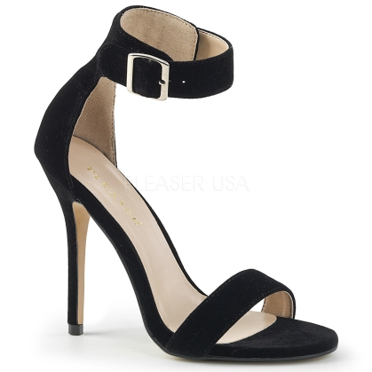 Black Velvet Sandal With Buckle Ankle Strap