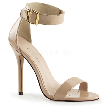 Women's dance and style shoes are these 5 inch heel, close back sandal with buckle ankle strap. Featured here in red shiny patent and very eye-catching.