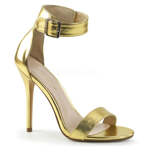 Gold Matte Sandal With Buckle Ankle Strap
