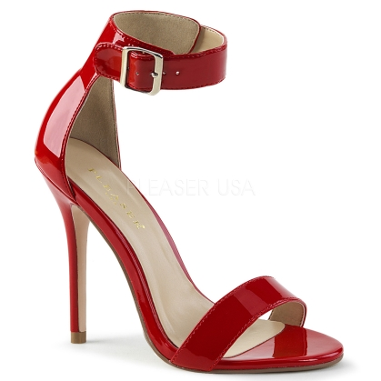 Red Patent Sandal With Buckle Ankle Strap