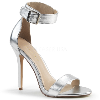 Silver Matte Sandal With Buckle Ankle Strap