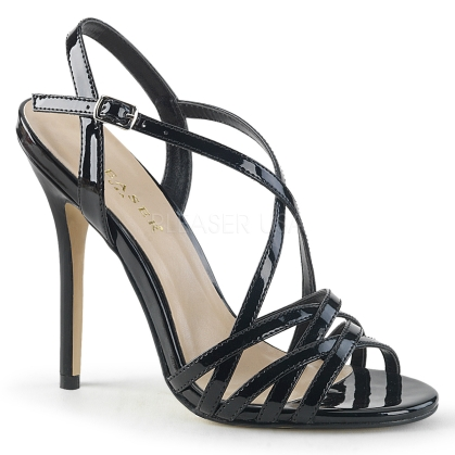 Black Patent Criss-Cross Strap Evening Shoes