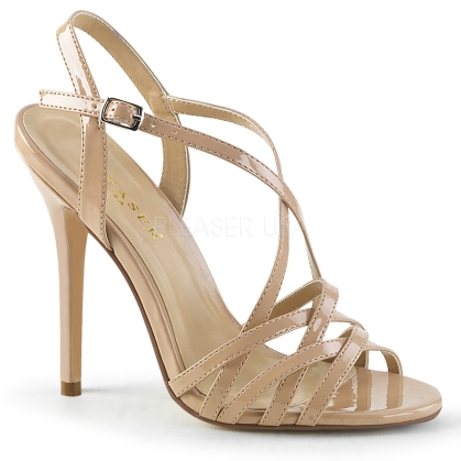 Nude Patent Overlapping Criss-Cross Strap Shoes
