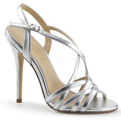 Silver Patent Criss-Cross Strap Evening Shoes