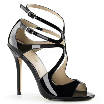 Merengue or salsa in these 5 inch heel, black patent leather strappy sandals. The straps swirl creatively around the top of your foot and around your ankle.