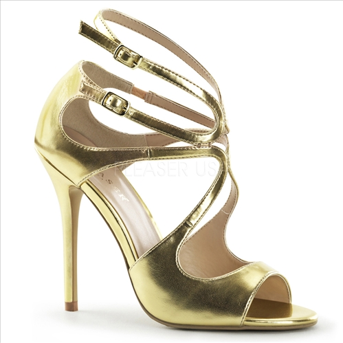 Any dance is fun with these 5 inch heel, gold metallic strappy sandals. The cut out detail of these shoes are very sexy with a swirling strap that provides creativity.