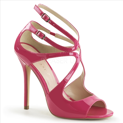 A hot night on the town awaits in these swirly crisscross strappy sandals featured here in hot pink with a closed back and open toe, and a 5 inch stiletto heel.