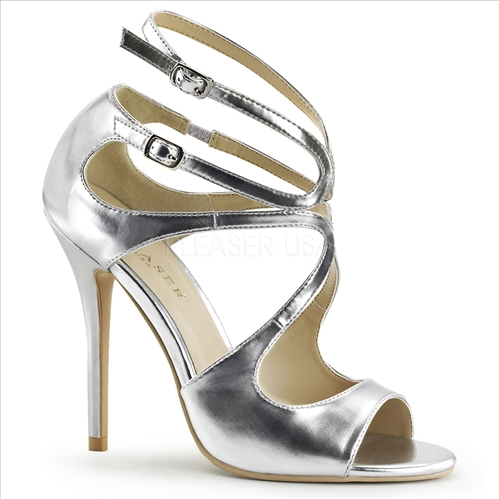 The 5 inch stiletto heel with a flat bottom of these silver metallic strappy sandals are perfect for salsa dancing. These strappy, closed back, open toe shoes shine.