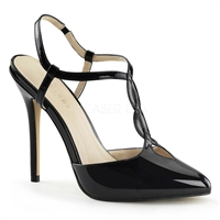 Black Sling Back Shoes Cut Out Accents Front