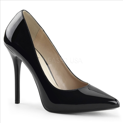 The secret of these shoes is the 3/8 inch hidden platform of the 5 inch stiletto heel in black shiny patent leather and a pointed toe, these are glamour girl ready.