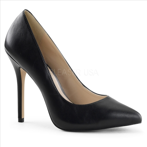 3/8 inch hidden platform and 5 inch stiletto heel. Featured here in black leather and a pointed toe, these are glamour girl ready