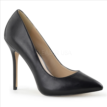 The 3/8 inch hidden platform which adds comfort by reducing the slope of the 5 inch stiletto heel, and black faux leather and a pointed toe
