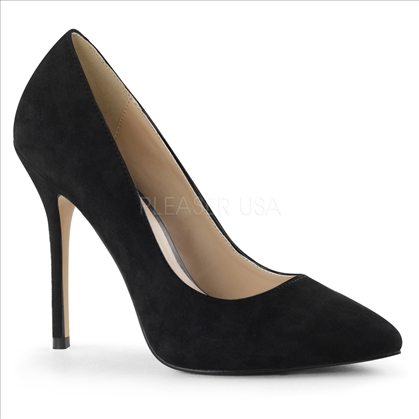 The secret of these shoes is the 3/8 inch hidden platform which adds comfort by reducing the slope of the 5 inch stiletto heel, black suede and a pointed toe.