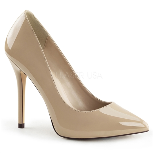 The 3/8 inch hidden platform which adds comfort by reducing the slope of the 5 inch stiletto heel is featured here in cream patent leather and a pointed toe.